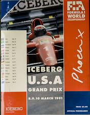 USA GRAND PRIX FORMULA ONE F1 1991 Phoenix Official Race Program