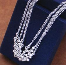 Damen Halskette Kette mit Perlen - Farbe Silber - plattiert 1090