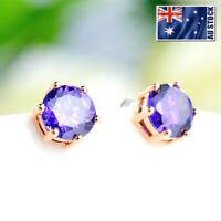 Women's 18K Rose Gold GF 8MM Simulated Diamond Purple Stud Earrings Jewelry Gift