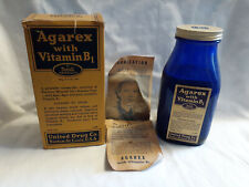 Vtg Drug Store Pharmacy 16oz Agarex Rexall Drug Stores Cobalt Blue Bottle In Box