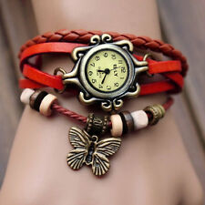 Women Vintage Fashion Butterfly Bracelet Faux Leather Quartz Wrist Watch Red HA