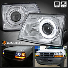 1998-2000 Ford Ranger Halo Angel Eye Projector Headlight Head Lamp Left+Right