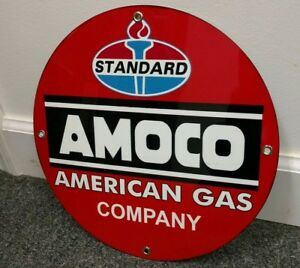 American Gas company Standard Amoco Oil gasoline sign ..FREE ship on any 8 signs