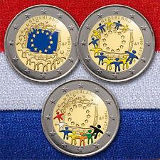 3 x 2 EURO MONETA COMMEMORATIVA MONETA COIN Netherlands European FLAG 2015 colored color
