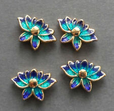 4pcs-16mmX11mmX5mm, 2 sided Cloisonne green blue lotus flower space beads