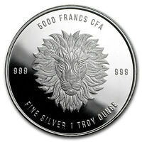 2018 Republic of Chad 1 oz Silver Mandala Lion BU