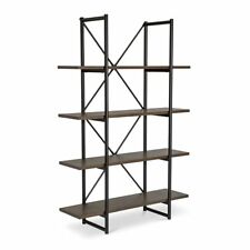 FINN RUSTIC INDUSTRIAL SCANDINAVIAN WOODEN OAK + STEEL BOOKSHELF / DISPLAY SHELF
