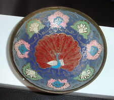 Vintage Enamel on Brass Bowl/Dish/Plate with Floral and Peacock Decoration