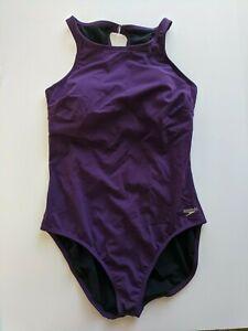 Speedo High Neck One Piece Swimsuit, Purple, Women's 14