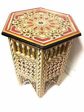 Moroccan Octagonal Moucharabieh Handpainted Table Arabic Furniture End Table