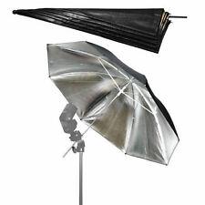 Silver /black Studio Flash Reflector Photography Umbrella 83cm /33'' Brand New