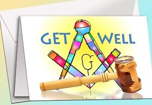 Art SQ & Gavel - Get Well - Masonic  - 8 Note Cards w/envelopes NEW!