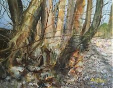 "ORIGINAL DAVID ALDUS Oil on Canvas ""The Old Sweet Chestnut"" Forest Tree PAINTING"