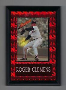 "Vintage 1990s 6.5"" x 4.5"" Card Plaque Rocket Roger Clemens Red Sox #2"