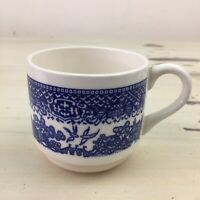 COLONIAL MUG - Vtg Blue & White Toile Pattern Ceramic Coffee Tea Cup - MUST SEE!
