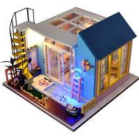DIY Wooden Dollhouse Miniature Furniture Kit LED Kid Birthday Xmas Gift House
