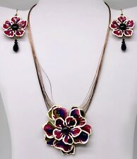 Chico's Purple and White Enamel Flower Necklace and Pierced Earrings Set