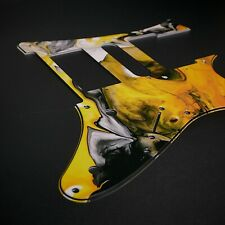 Ibanez Custom Graphic Pickguard RG Jem7 Jem Jr Yellow Marble by Stormguitar