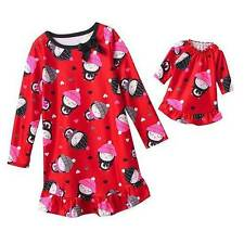 NWT Girls Nightgown Size 6 Christmas Pjs Doll Gown Pajamas Fleece Red Winter NEW