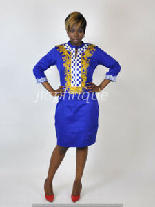 Custom Order Ladies White Polished Cotton With Gold Embroidery, African clothes