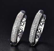 White gold finish created diamond beautiful design Hoop Earrings free postage