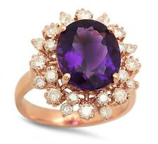 6.00 Carats Natural Amethyst and Diamond 14K Solid Rose Gold Ring