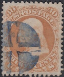 USA Scott #71 30ct Used Blue Cancel XF+ Centering GEM