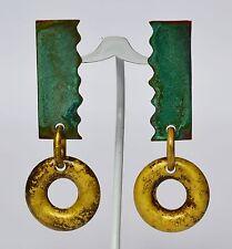 Extravagante Ohrringe Ohrhänger 925 Sterling Silber und Kupfer farbig bearbeitet