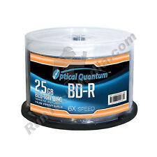 50 Optical Quantum 6x 25GB Blu-ray BD-R White Inkjet HUB Printable Blank Discs