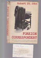 ROBERT ST. JOHN - inscribed visit card and dust jacket of FOREIGN CORRESPONDENT