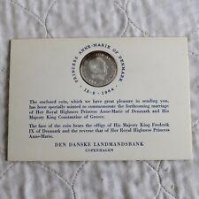 More details for denmark 1964 princess anne marie silver 5 kroner - presentation card