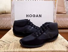 "Hogan by Tods Mens Black Suede/Mesh Mid-Top Lace up Sneakers Size 11/10 UK ""NEW"""