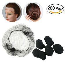 200pack Hair Nets Invisible Elastic Edge Mesh Hair Accessories(Black)