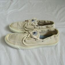 Sperry Top Siders Ivory Canvas Boat Shoes Men's 10