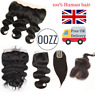 UK Brazilian Lace Silk Frontal Human Hair Closure Straight Natural Body Wave