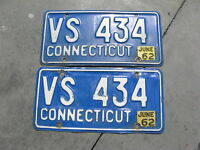 1962 62 CONNECTICUT CT LICENSE PLATE PAIR NICE BUY NOW ORIGINAL VS 434
