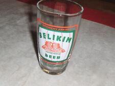 """Vintage BELIKIN Myan Temple Brewery 5"""" Draft Crisa Beer Glass Ladyville, Belize"""