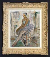 RAYA SAFIR (1909-2004) PEINTURE FAUVISTE SCENE DE BALLERINE 1950 (25)