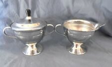 Silver Tone Chrome Metal Coffee Covered Sugar and Creamer Set