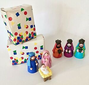 1993 Avon Kids My First Christmas White Nativity Collection Set w/Boxes 6 Pieces