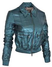 New Burberry $1,995 Metallic Green Goat Leather Nova Check Biker Jacket 4 38