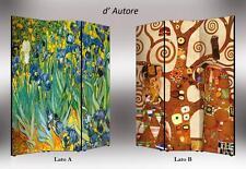 Parete divisoria BIFACCIALE Klimt e Van Gogh   Separè Paravento made in Italy