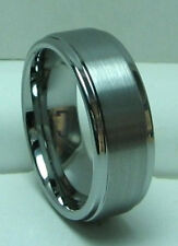 MEN 8MM TUNGSTEN CARBIDE SATIN FINISHED comfort fit ring size 9 or 9.5