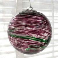 """Hanging Glass Ball 4"""" Diameter Purple, Green & White Swirls (1) HB39-2"""