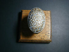 ANTIQUE NEW YORK CITY PUBLIC SCHOOL BRASS DOOR KNOB PAPERWEIGHT w/WOOD STAND