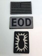 BLACK Explosive Ordnance Disposal FLAG EOD Bomb Squad MILITARY HK/LP PATCH