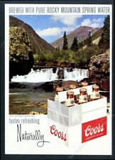 1969 Coors Beer bottle six-pack mountain stream photo vintage print ad