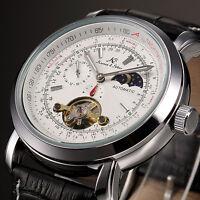KS Men's Tourbillon Black Leather 24 Hour Mechanical Automatic Sport Wrist Watch