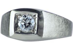 Solitär 14 K 585 Weißgold Gold 0,57 ct Diamant Brillant Herren Ring!