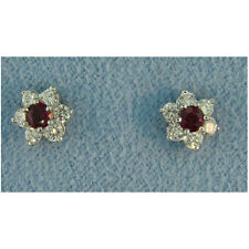 14Kt Ladies Diamond and Ruby Earrings 0.86cts T.W.